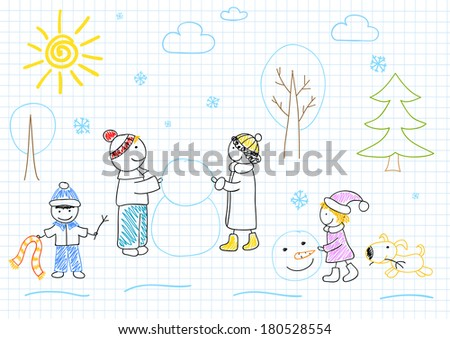 Happy family sculpts snowman. Children's drawing