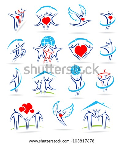 happy family set of icons and - stock vector