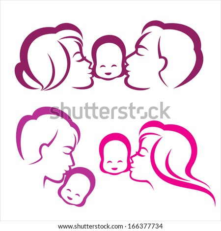 happy family silhouette, vector symbols collection - stock vector