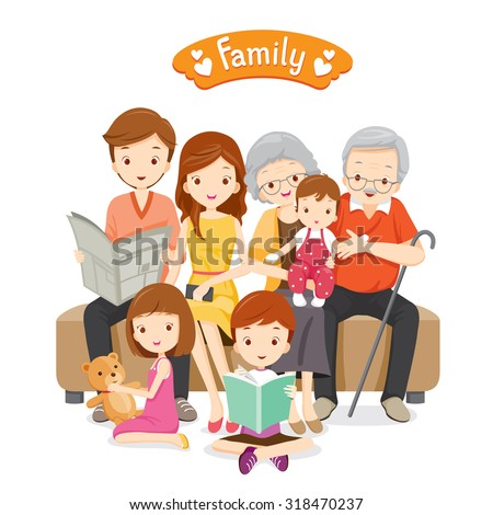 Happy Family Sitting on Sofa and Floor, Relationship, Togetherness, Vacations, Holiday, Lifestyle