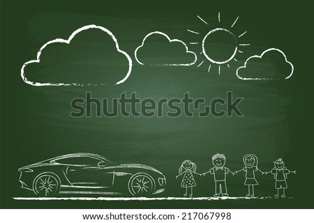Happy Family Sketch With Sports Car On Green Board - stock vector