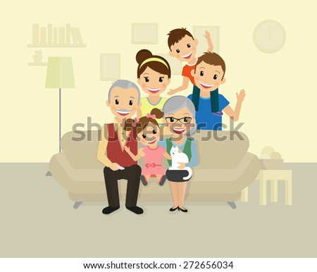 Happy family. Smiling dad, mom, grandparents and two kids sitting at home - stock vector