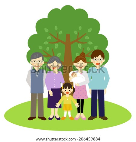 Happy family standing in front of the tree / Vector EPS 10 illustration  - stock vector