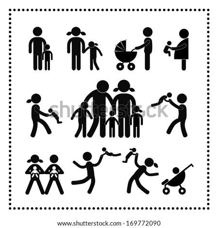 happy family symbol  on white background - stock vector