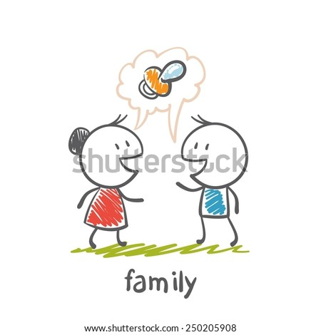 happy family thinks about the baby illustration