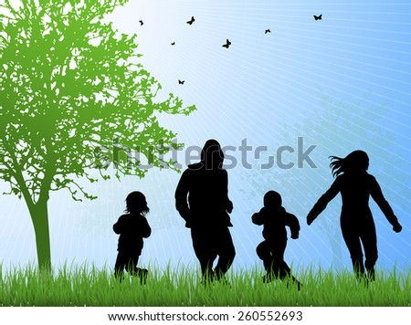 happy family together outdoors