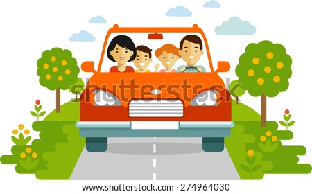 Happy family traveling by red car together on nature background in flat style - stock vector