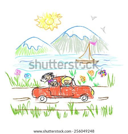 Happy family trip  doodle - stock vector