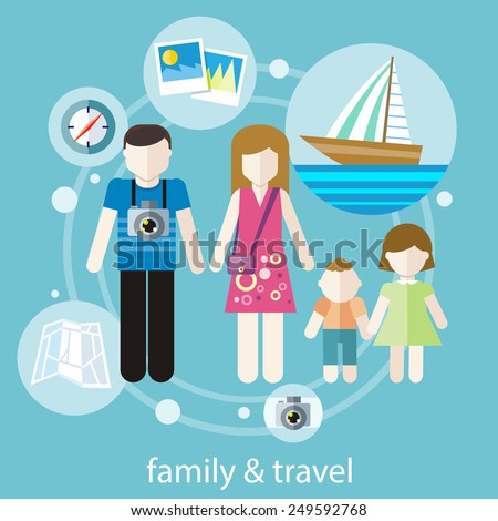 Happy family trip traveling. Parents with their children going for vacations. Concept in flat design - stock vector