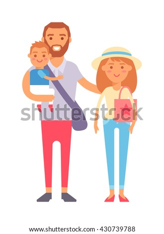 Happy family vacation together and vacation family vector character. Vacation family fun together and Vacation family travel joy outdoors. Parent leisure cheerful vacation family. - stock vector