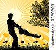 Happy family, vector illustration - stock vector