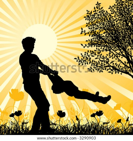 Happy family, vector illustration - stock vector