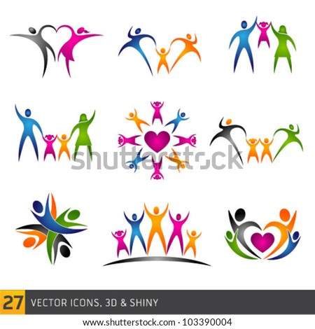 happy family vector multicolored separate icons collection - stock vector