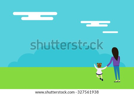 Happy family walks on nature background. Woman and girl daughter walking outdoor nature. Sky, grass, background. Summer time illustration. Woman and girl connected hands together. Family concept - stock vector