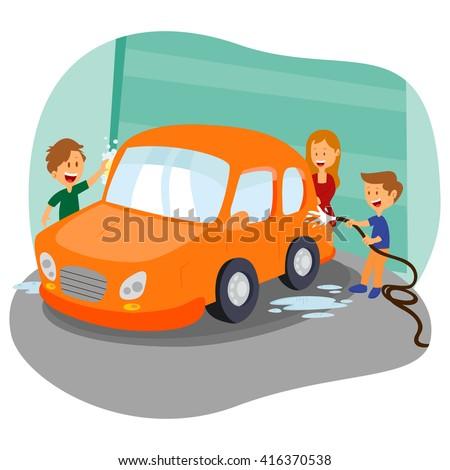 Happy family washing car in garage in vector - stock vector