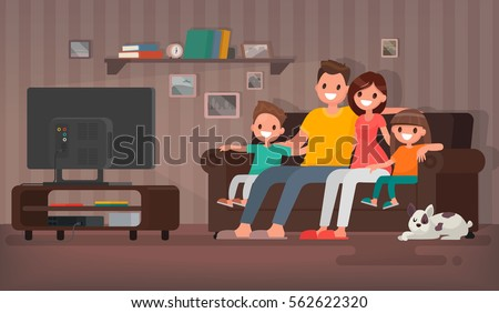 Happy family watching television sitting on the couch at home. Vector illustration in a flat style