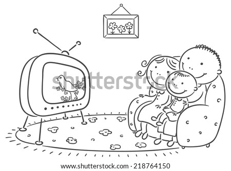 watching tv clipart black and white. happy family watching tv together tv clipart black and white i