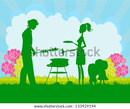 Happy family with barbecue - stock vector