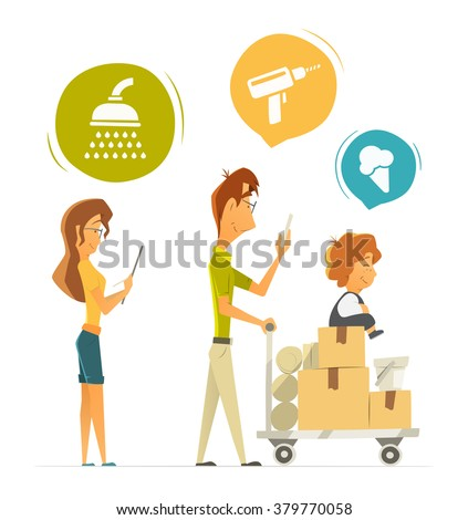 Happy family with cart, trolley buying shopping in hardware household shop store. Color vector illustration. Isolated on white background.