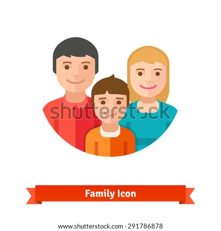 Happy family with child. Flat style vector icon isolated on white background. - stock vector