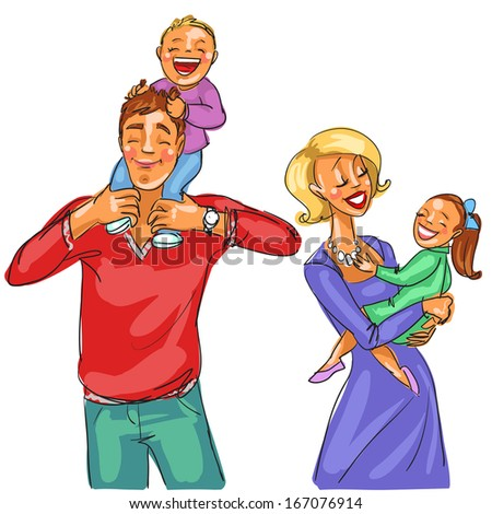 Happy family with kids. - stock vector