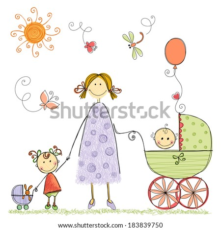 Happy family with mother, little girl and baby boy. Isolated vector illustration. - stock vector