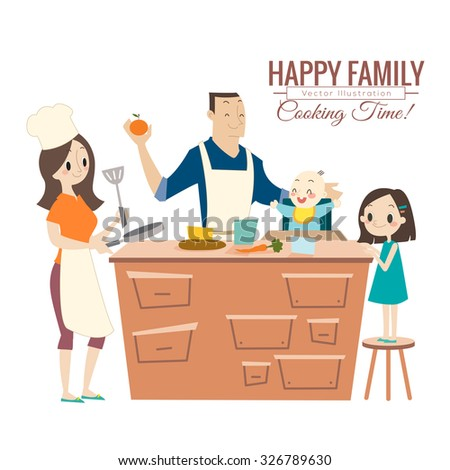 happy family with parents and children cooking in kitchen vector cartoon illustration - stock vector