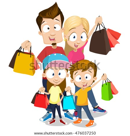 Happy family with shopping bags standing