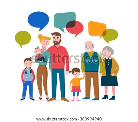 Happy family with speach bubbles, parents, kids, grandparent - stock vector