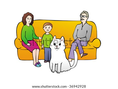 Happy family with sun and cat on sofa