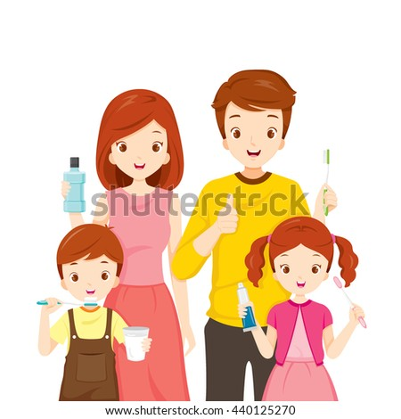 Happy Family With Teeth Cleaning Accessories, Medical, Dentistry, Hospital, Checkup, Patient, Hygiene, Healthy, Treatment