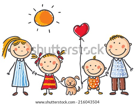 Happy family with two children and a puppy - stock vector