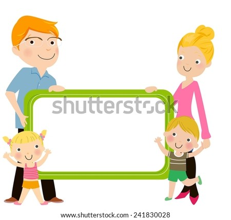 Happy family with two children with a blank frame - stock vector