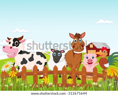 Happy farm animal cartoon collection - stock vector