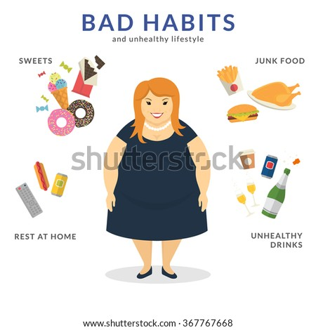 Happy fat woman with unhealthy lifestyle symbols around him such as junk food, sweets, rest at home and unhealthy drinks. Flat concept illustration of bad habits isolated on white - stock vector
