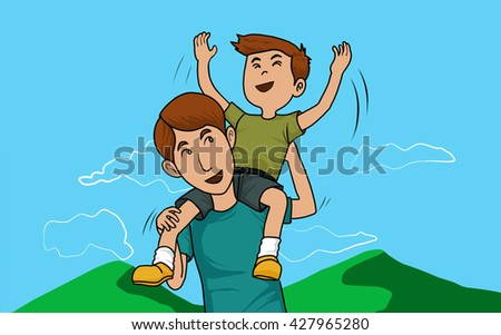 Happy Father carrying his son on shoulders with blue sky background vector draw eps10