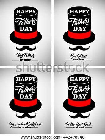 Happy Father Day, Best Dad, Love You Dad Inscription. Vector Design Elements For Greeting Card - stock vector