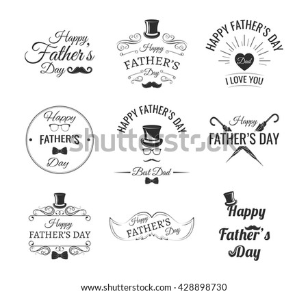 Happy father day vintage labels set.Father Day set: Mustache, Top hat, Bow-tie, umbrella. Best Dad. Vector illustration poster and porint on card. Congratulations dad.  Father's Day invitation party.  - stock vector