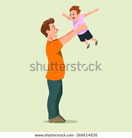 happy father holding his son, cartoon character, vector illustration  - stock vector