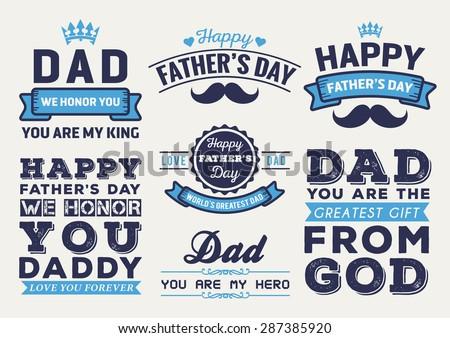 Happy Father's Day Badge Logo Vector Element Set In Retro Blue Tone - stock vector