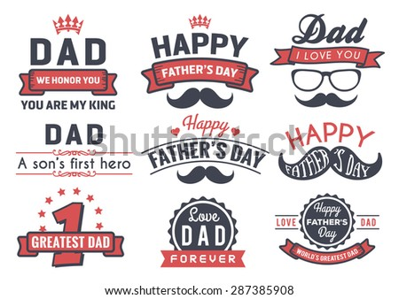Happy Father's Day Badge Logo Vector Element Set In Retro Red and Black Tone - stock vector