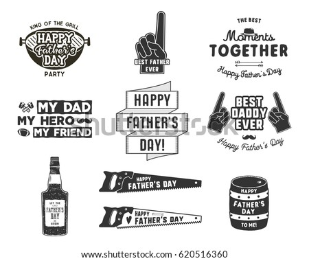 Happy Father's Day Badges and Design Elements Collection Vintage style father day labels. Monochrome typography style. Best for party greetings cards, t shirt, mug, banner, poster Vector illustration.