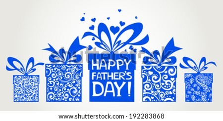 Happy Father's Day card. Celebration grey background with gift boxes and place for your text.  Vector Illustration  - stock vector