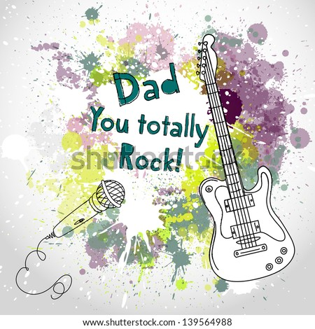 Happy Father's Day card, with guitar and microphone - stock vector