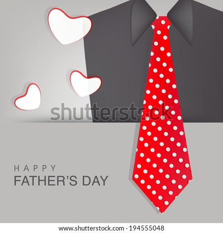 Happy Father's Day celebrations greeting card design with necktie and suit on grey background. - stock vector