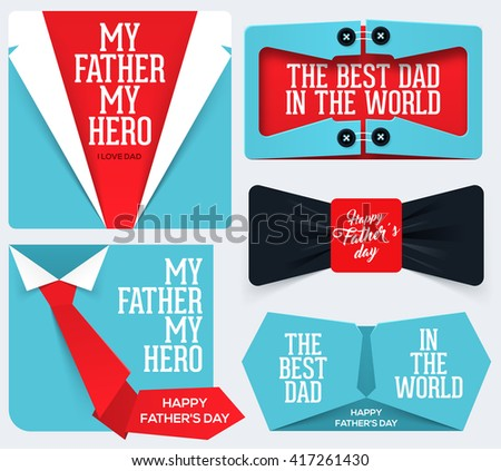 Happy Father's Day Collection. fathers day card. fathers day vector. Greeting card for Father's Day. - stock vector