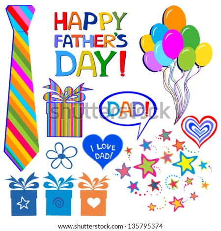 Happy Father's day. Collection of design elements isolated on White background. vector illustration - stock vector