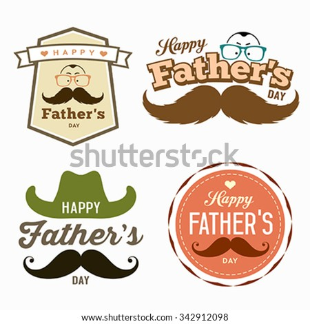 Happy Father's day colorful labels logo set concept design background, vector illustration - stock vector