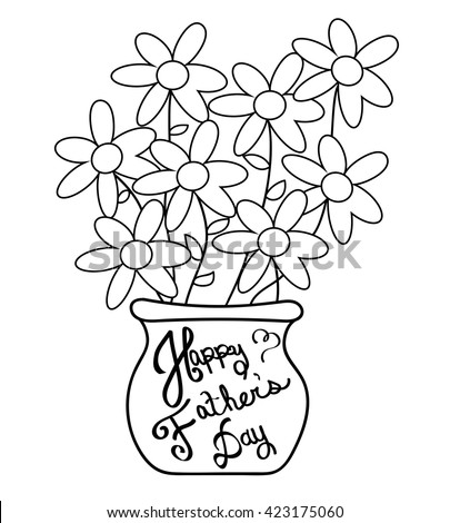 Happy Fathers Day Coloring Page Stock Vector 423175060 - Shutterstock