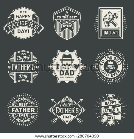 Happy Father`s Day design insignias logotypes set. Vector symbols elements.  - stock vector
